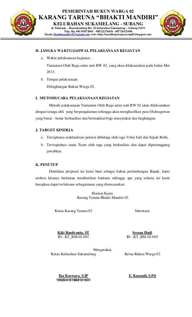 Contoh Surat Dinas Karang Taruna Surat G