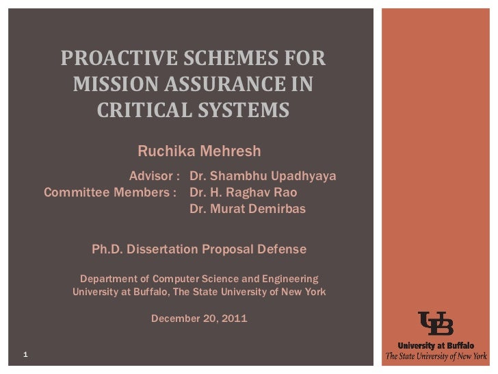 PROACTIVE SCHEMES FOR MISSION ASSURANCE IN CRITICAL SYSTEMS Ruchika Mehresh Ph.D. Dissertation Proposal Defense Department...