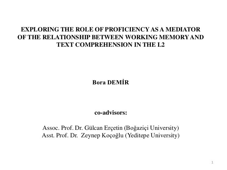 EXPLORING THE ROLE OF PROFICIENCY AS A MEDIATOROF THE RELATIONSHIP BETWEEN WORKING MEMORY AND          TEXT COMPREHENSION ...