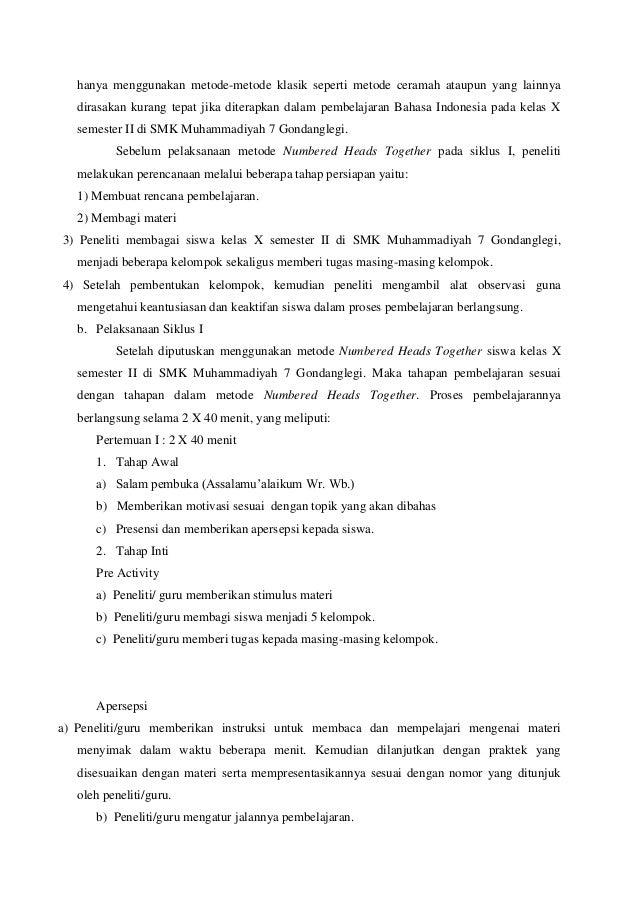 Contoh Skripsi Pendidikan Bahasa Indonesia Ptk