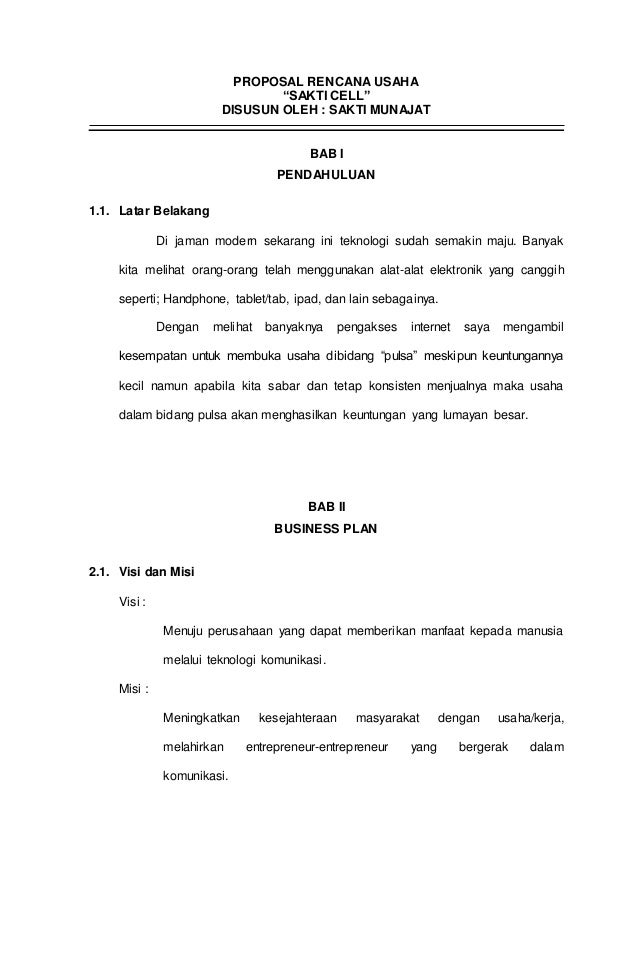 Proposal Rencana Usaha