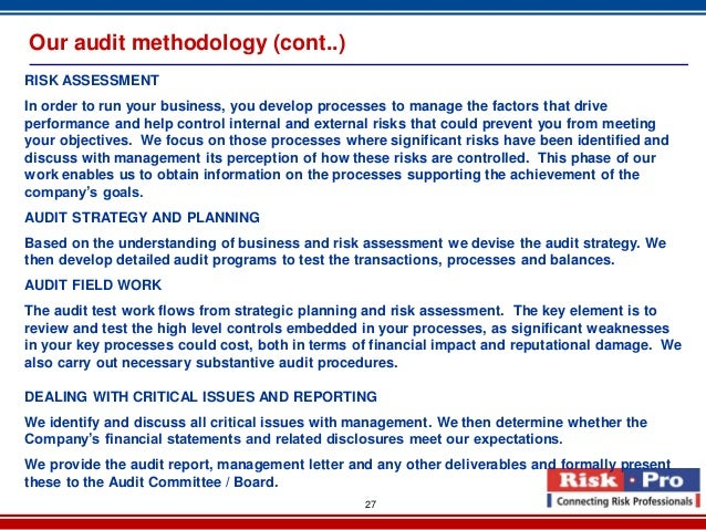 external auditing risk categories external auditing – week 4 discussion what do following risk categories mean: planned detection risk, inherent risk, control risk, acceptable audit risk.