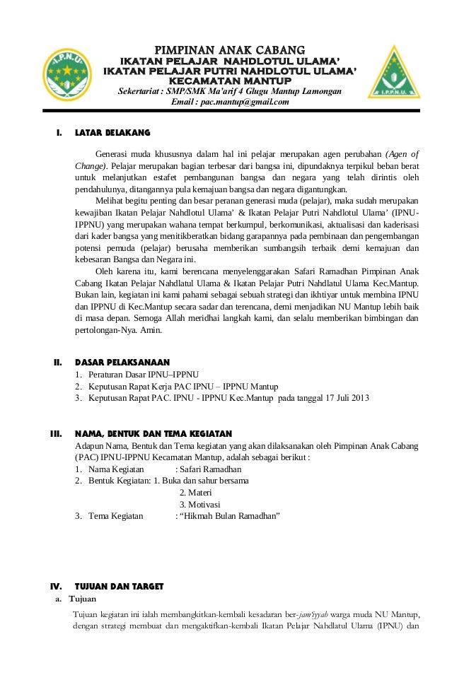 Proposal Safari Ramadhan Ipnu Kec Mantup Tahun 2012