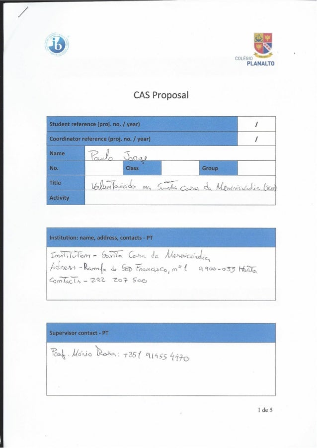 3' É e;  COLÉGIO A PLANALTO CAS Proposal L Student reference (proj.  no.  / year) /  é coordinator reference (proj.  no.  ...