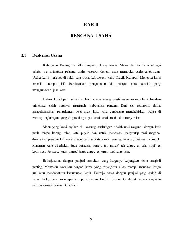 Proposal Usaha Angkringan