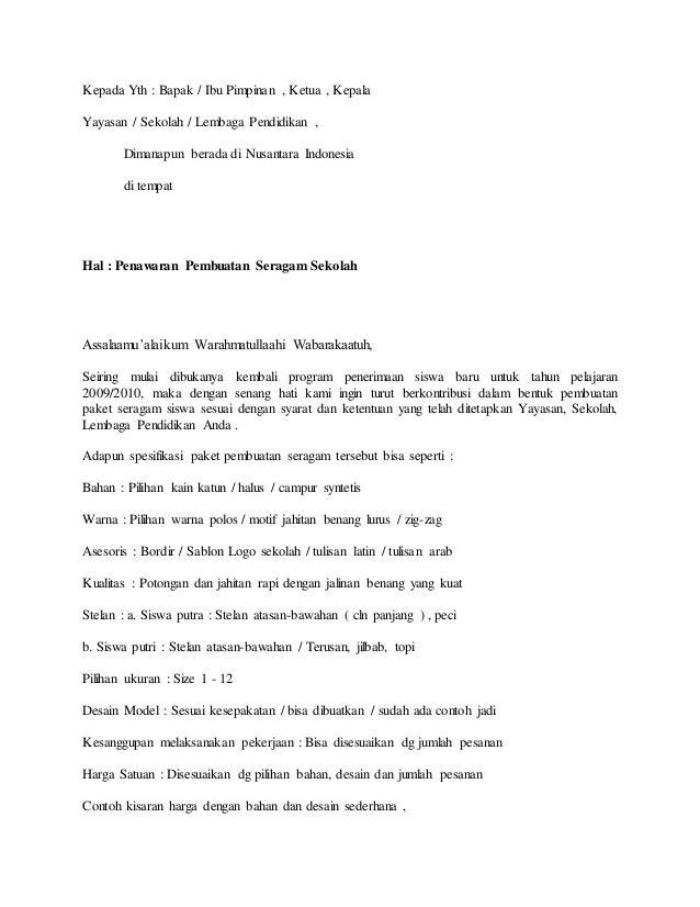 Proposal seragam contoh 1