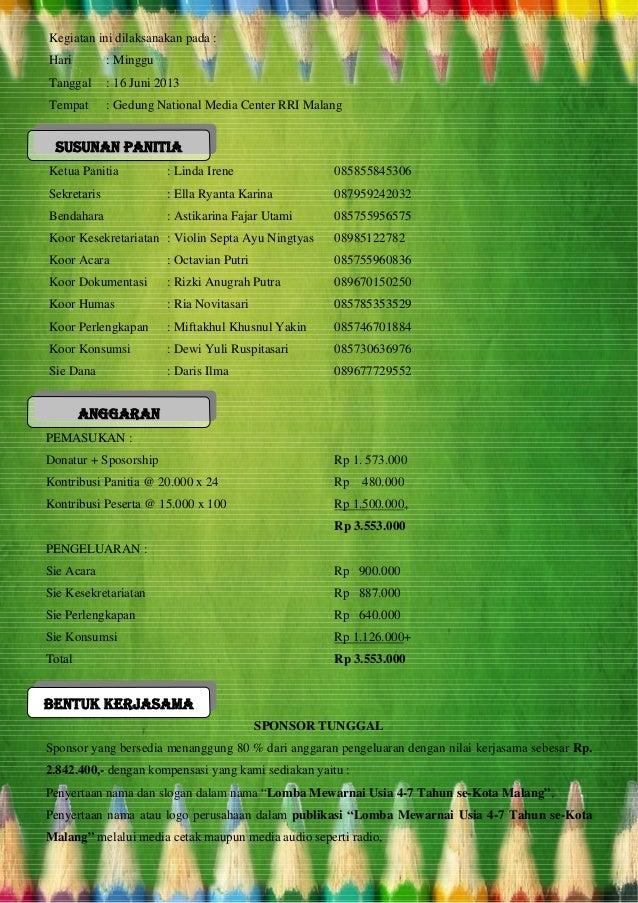 Proposal Sponsorship Untuk Lomba Mewarnai