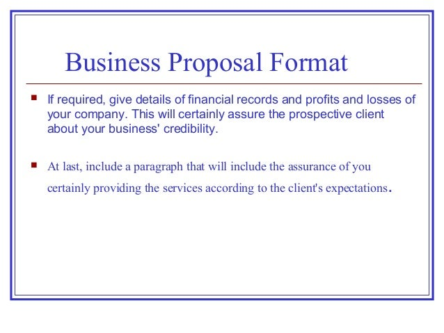 format for business proposals - Business Proposal Format