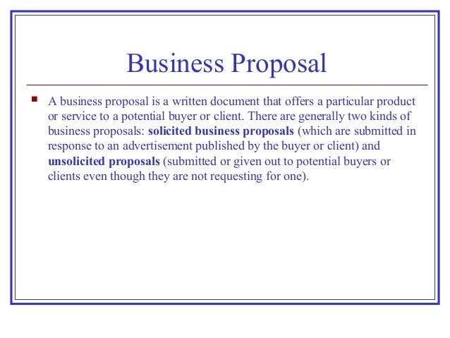 kinds of business proposal