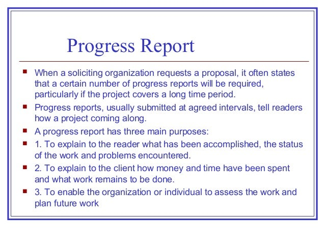 Proposals  Progress Reports