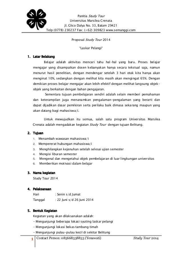 Contoh Kerangka Proposal Study Tour Sekolah Lengkap - Guru ...