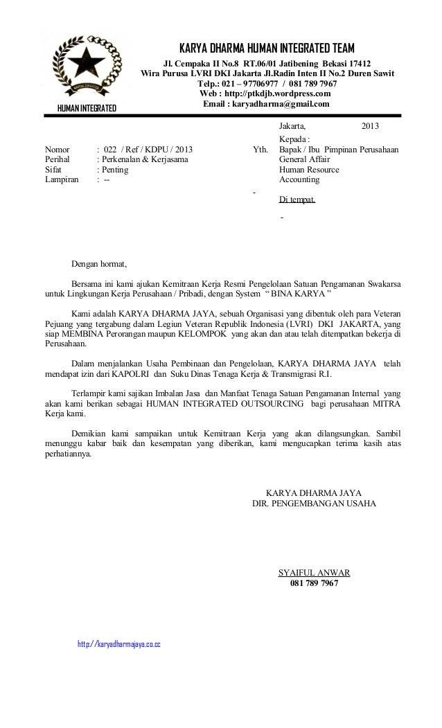 Jakarta, 2013Kepada :Nomor : 022 / Ref / KDPU / 2013 Yth. Bapak / Ibu Pimpinan PerusahaanPerihal : Perkenalan & Kerjasama ...