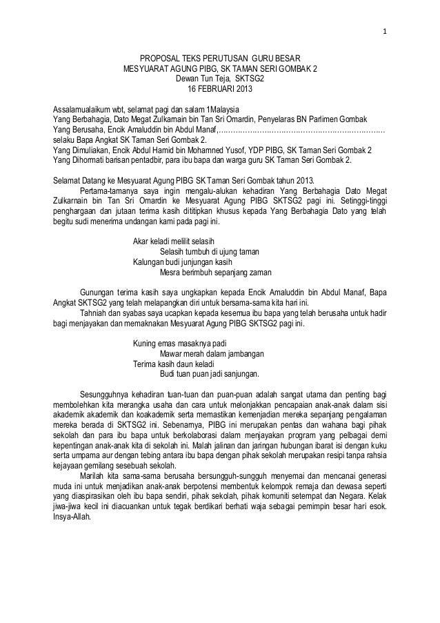 1                        PROPOSAL TEKS PERUTUSAN GURU BESAR                     MESYUARAT AGUNG PIBG, SK TAMAN SERI GOMBAK...