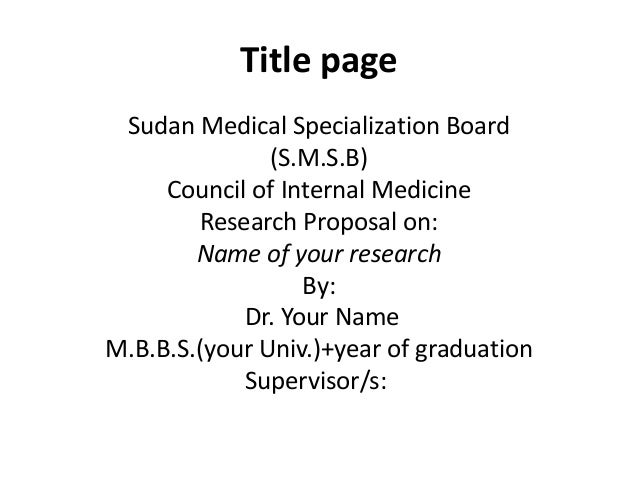 Proposal Template For Md Sudan