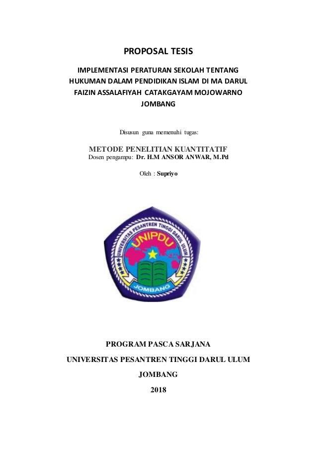 Proposal Tesis Implementasi Peraturan Sekolah Tentang Hukuman Dalam