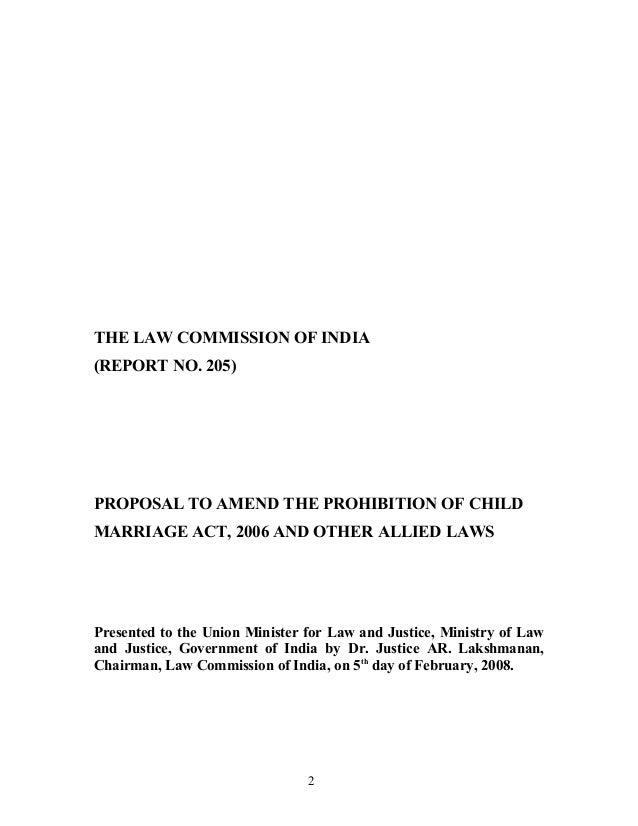 Proposal To Amend The Prohibition Of Child Marriage Act-2006 And Othe…