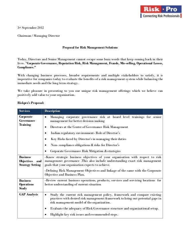 3rd September 2012Chairman / Managing Director                                    Proposal for Risk Management SolutionsTo...