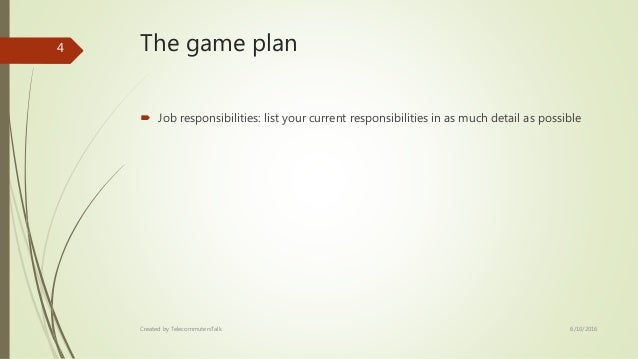 Template Proposal To Work Remotely - Game plan template