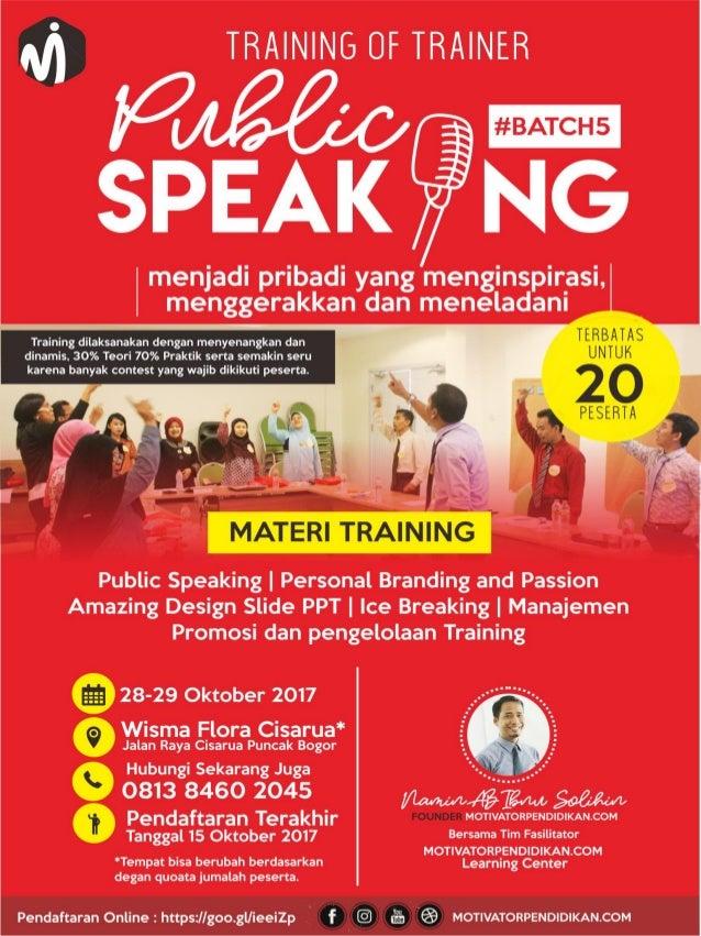 Proposal training of trainer  public speaking batch 5