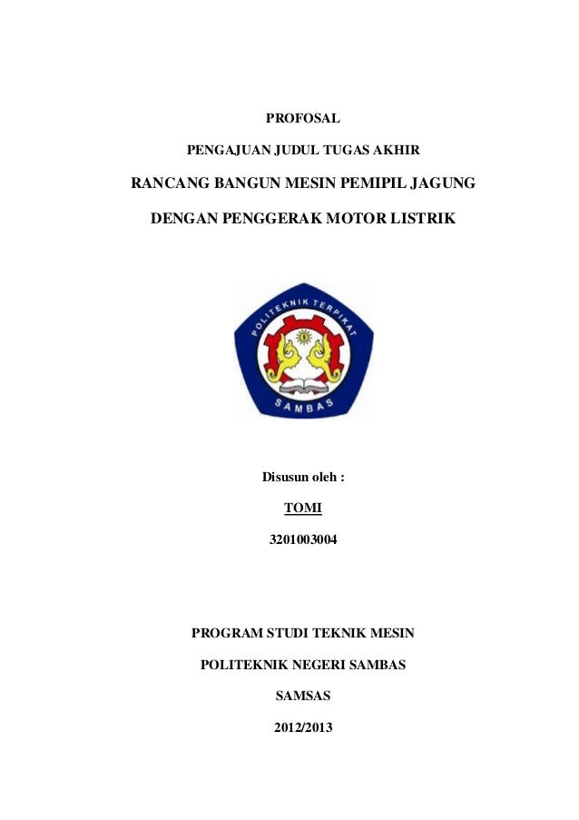Proposal Tugas Akhir Mesin Pemipil Jagung