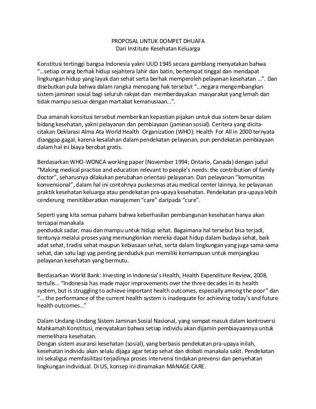 PROPOSAL UNTUK DOMPET DHUAFA                             Dari Institute Kesehatan KeluargaKonstitusi tertinggi bangsa Indo...