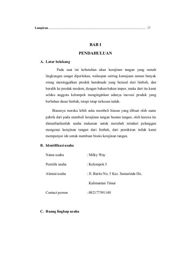 Contoh Proposal Usaha Kerajinan Dari Bahan Limbah
