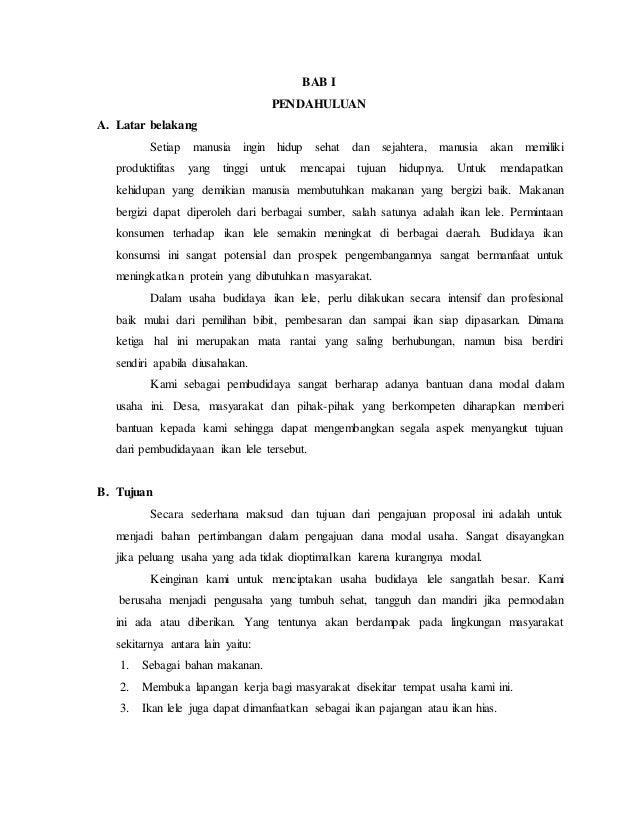 Proposal Usaha Budidaya Ikan Lele