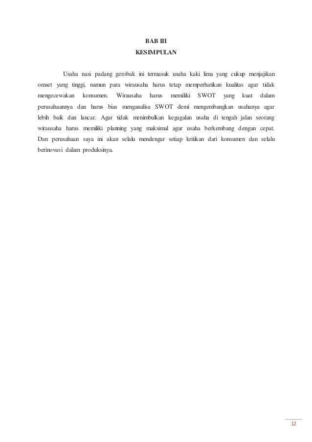Proposal Usaha Dengan Analisis Swot