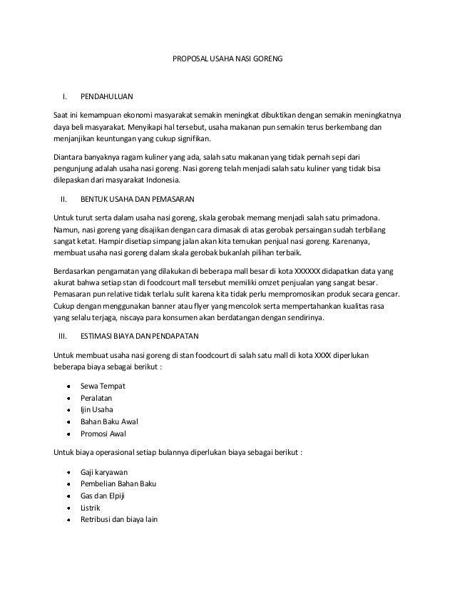 Proposal Usaha Nasi Goreng