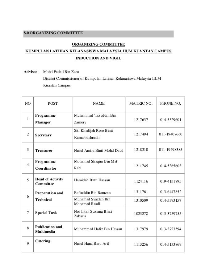 Sample of programme proposal