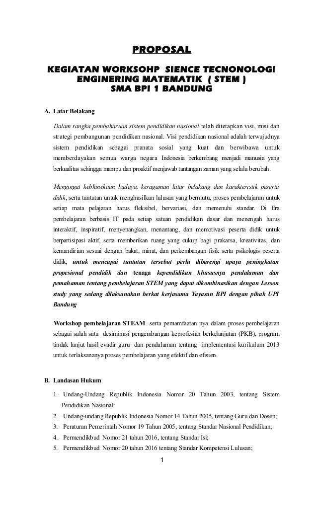 Contoh Proposal Kegiatan Workshop Kurikulum 2013 Berbagi Contoh Proposal