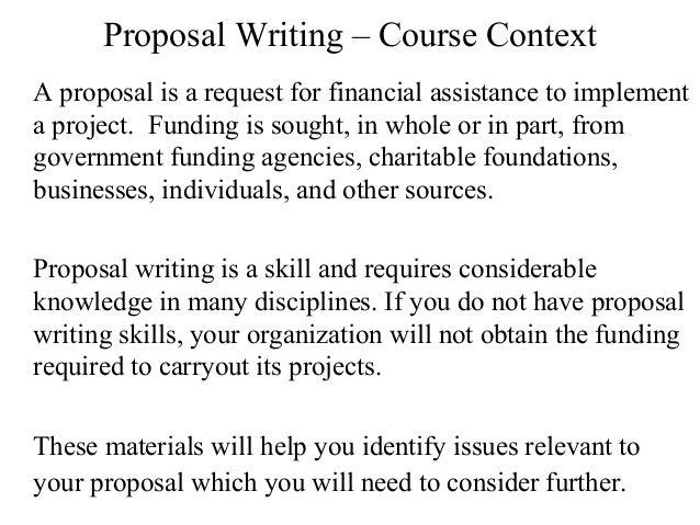 Proposal writing.