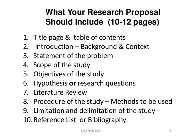 contents and structure of research proposal
