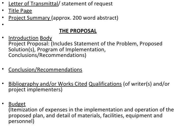 Proposal writing final – Letter of Transmittal for Proposal