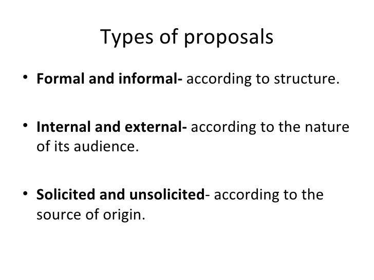 Proposal writing final – Informal Proposal Format