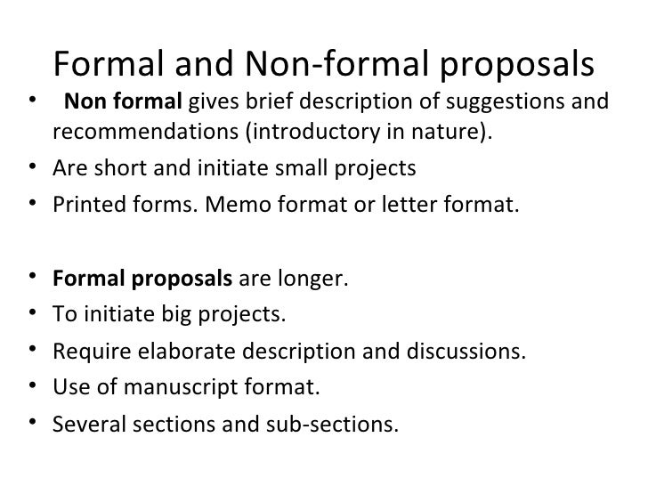 Formal And Non Formal Proposals ...  Formal Proposal Template