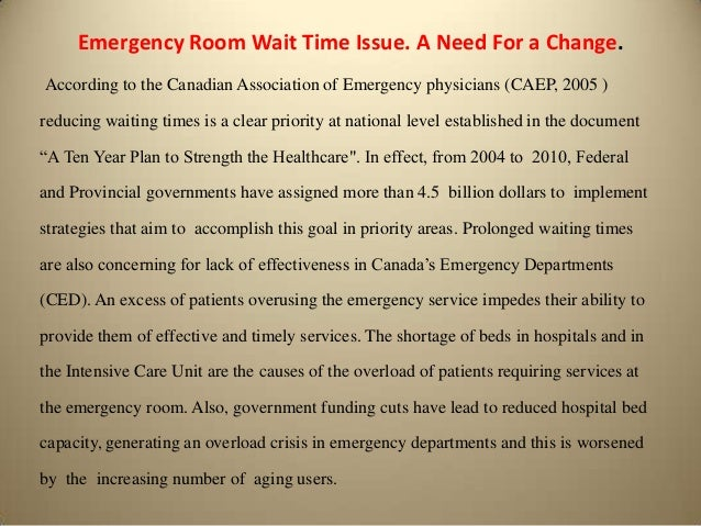 Emergency Room Wait Times By Year