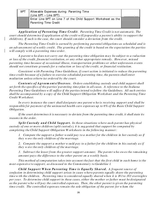 Indianas Proposed News Child Support Rules – Oregon Child Support Worksheet