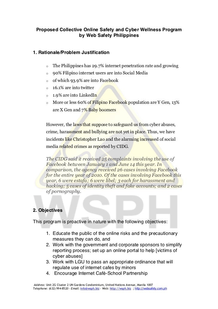 Proposed Collective Online Safety and Cyber Wellness Program                    by Web Safety Philippines1. Rationale/Prob...