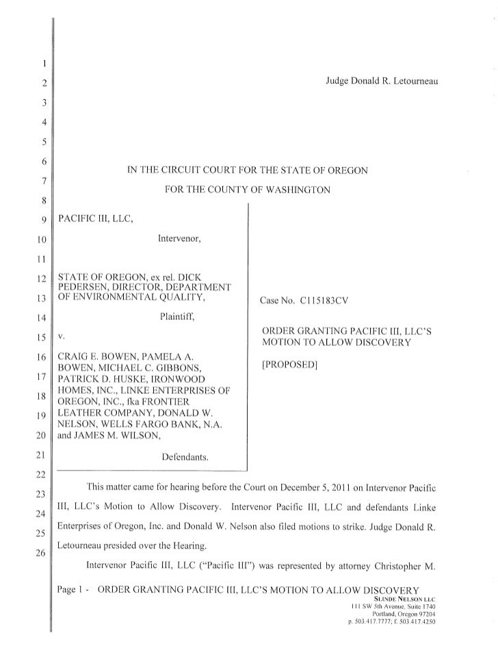 Motion to allow discovery