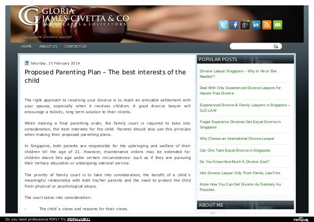 Proposed Parenting Plan The Best Interests Of The Child