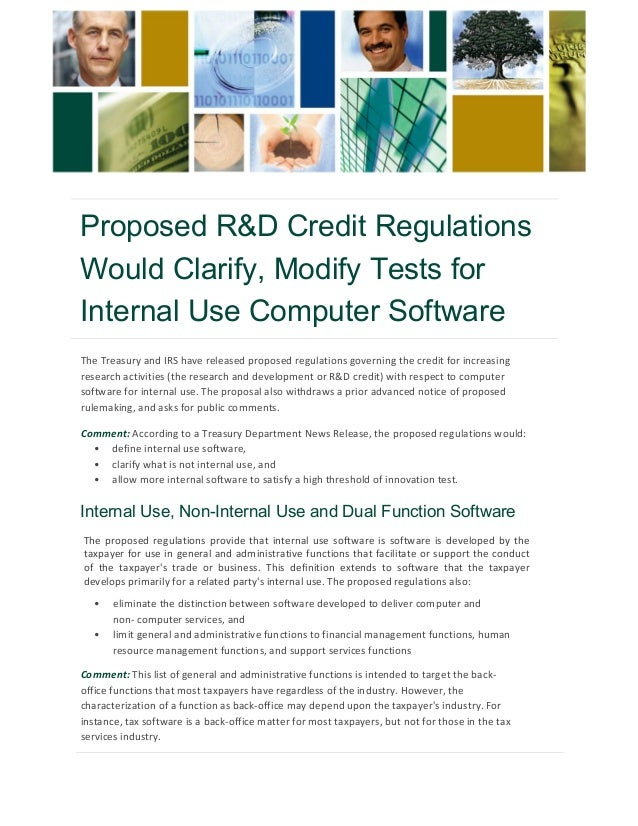 Proposed Rd Credit Regulations Would Clarify Modify Tests For Inter