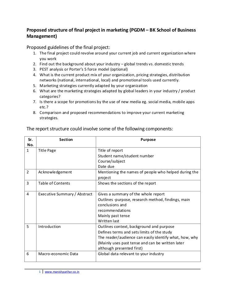 Proposed structure of final project in marketing (PGDM – BK School of BusinessManagement)Proposed guidelines of the final ...