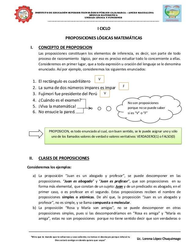 INSTITUTO DE EDUCACIÓN SUPERIOR TECNOLÓGICO PÚBLICO CAJAMARCA – ANEXO MAGDALENA MÓDULO: MATEMÁTICA UNIDAD: LÓGICA Y FUNCIO...