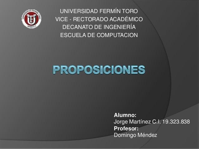 UNIVERSIDAD FERMÍN TOROVICE - RECTORADO ACADÉMICO   DECANATO DE INGENIERÍA  ESCUELA DE COMPUTACION                 Alumno:...