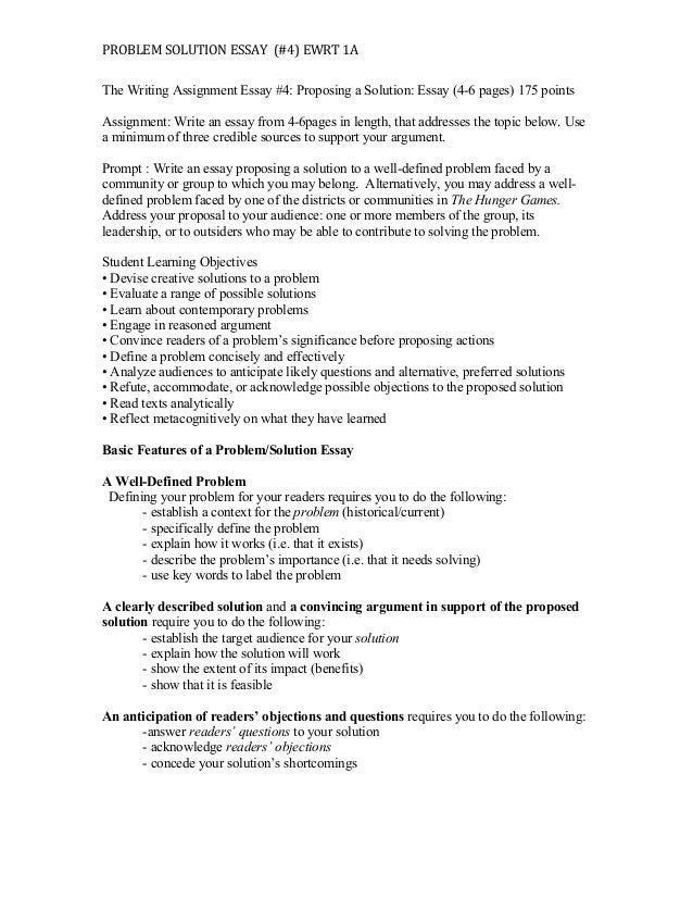 proposing a solution essay  problem solution essay 4 ewrt 1a the writing assignment essay