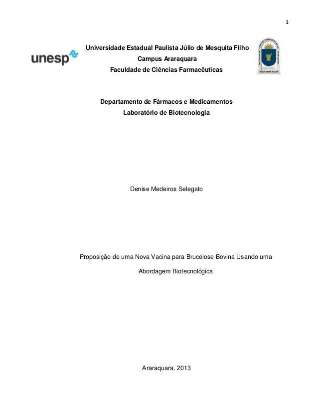 1  Universidade Estadual Paulista Júlio de Mesquita Filho Campus Araraquara Faculdade de Ciências Farmacêuticas  Departame...