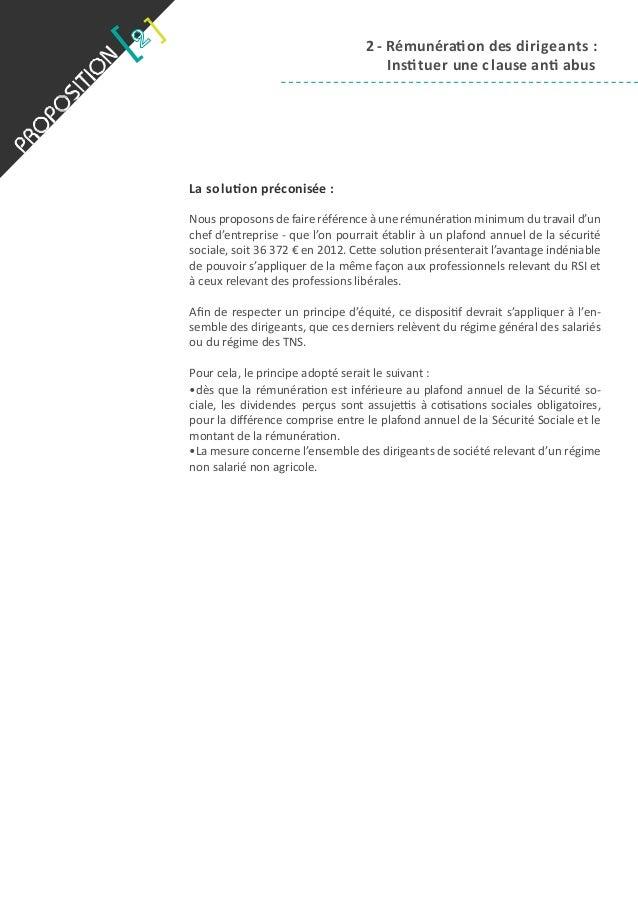Proposition 2 r mun ration des dirigeants instituer - Plafond annuel de la securite sociale 2014 ...