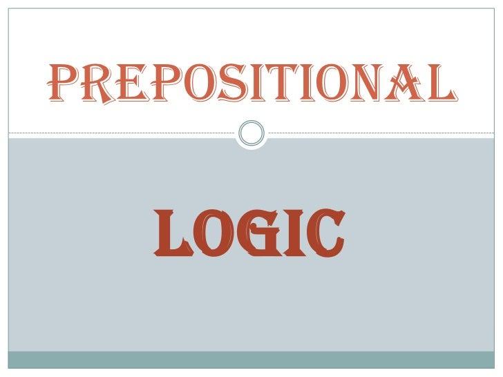 PREPOSITIONal   LOGIC