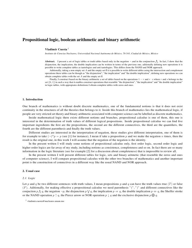 Propositional logic, boolean arithmetic and binary arithmetic                       Vladimir Cuesta †                     ...